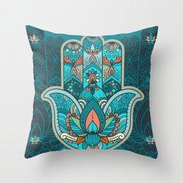 Hamsa Hand of Fatima, good luck charm, protection symbol anti evil eye Throw Pillow