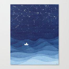 blue ocean waves, sailboat ocean stars Canvas Print