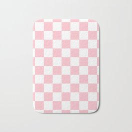 Checkered - White and Pink Bath Mat
