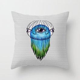 Purple Eye Jellyfish Throw Pillow