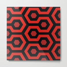 Red Hexagons Metal Print