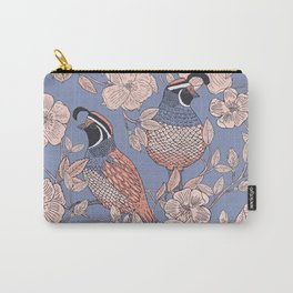 Quail and Wild Roses Carry-All Pouch