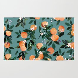 Dear Clementine - oranges teal by Crystal Walen Rug