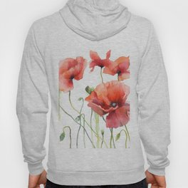 Spring Poppies Papaver Meadow Red Poppies White and Red Watercolor Hoody