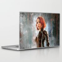 black widow Laptop & iPad Skins featuring Black Widow by Wisesnail