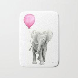 Elephant Watercolor Pink Balloon Baby Animal Nursery Girl Art Bath Mat