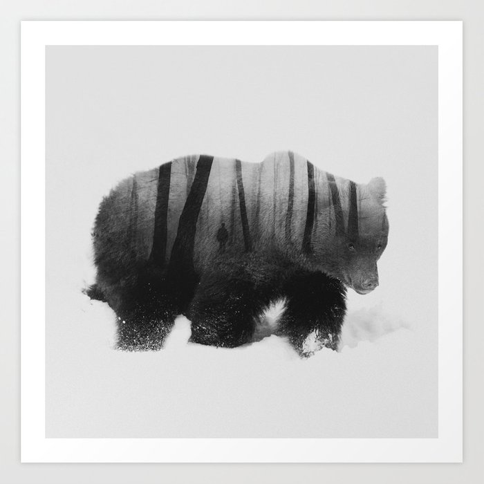 Watched by Grizzly Bear (black & white version) Art Print