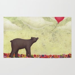 the bear and the heart-shaped balloon Rug