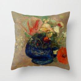 """Odilon Redon """"Flowers in a Blue Cup (Fleurs dans une coupe bleue)"""" Throw Pillow"""