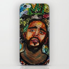 J cole,kod,album,music,rap,cole world,hiphop,rapper,masculine,cool,fan art,wall art,portrait,paint iPhone Skin