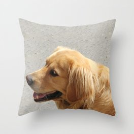 Happy Golden Retriever Throw Pillow