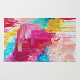 ELATED - Beautiful Bright Colorful Modern Abstract Painting Wild Rainbow Pastel Pink Color Rug