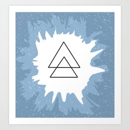 Blue Triangle Splatter Art Print
