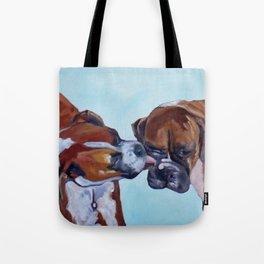 Kissing Boxers Dogs Portrait Tote Bag