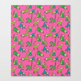 kitty kat (green on pink) Canvas Print