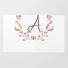 Floral A letter Rug