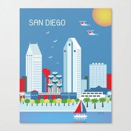 San Diego, California - Skyline Illustration by Loose Petals Canvas Print
