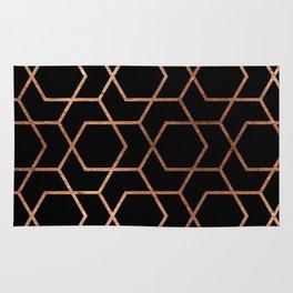 Geometric gold & black Rug