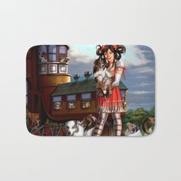 Gothic Lolita in the Shoe with Dogs Bath Mat