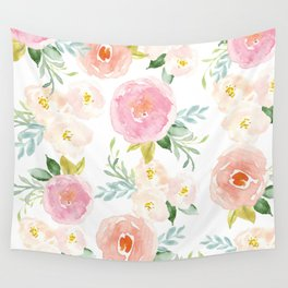 Sweet Pink Blooms (Floral 02) Wall Tapestry