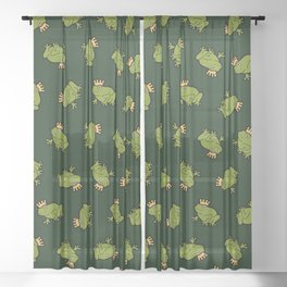 Frog Prince Pattern Sheer Curtain