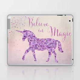 Pink and Purple Glamour Unicorn Believe in Magic Laptop & iPad Skin