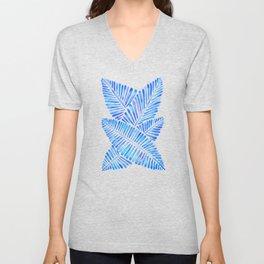 Tropical Banana Leaves – Blue Palette Unisex V-Neck