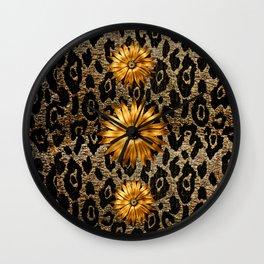 Animal Print Cheetah Triple Gold Wall Clock