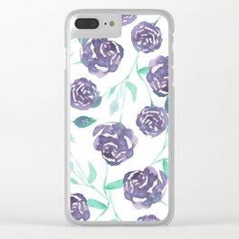 Purple Rose Bush Clear iPhone Case