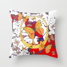 YELLOW  BUTTERFLIES IN WHITE & RED ABSTRACT Throw Pillow