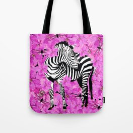 ZEBRA AND PINK FLOWERS and DRAGONFLIES Tote Bag