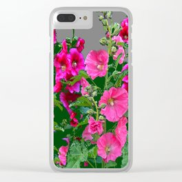 ENGLISH COTTAGE  PINK HOLLYHOCKS  GREEN & GREY GARDEN Clear iPhone Case