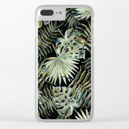 Jungle Dark Tropical Leaves #decor #society6 #pattern #style Clear iPhone Case