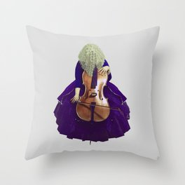 Ultra Blue Cellist Throw Pillow