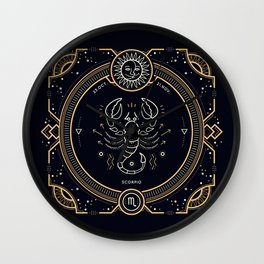 Scorpio Zodiac Golden White on Black Background Wall Clock