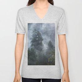 Smoky Redwood Forest Foggy Woods - Nature Photography Unisex V-Neck