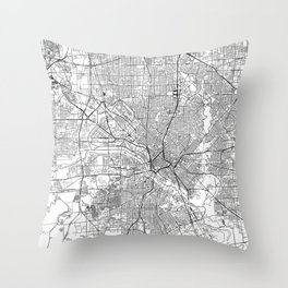 Dallas White Map Throw Pillow