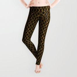 Golden Brown Scissor Stripes Leggings