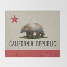 California Grizzly Bear Flag Throw Blanket