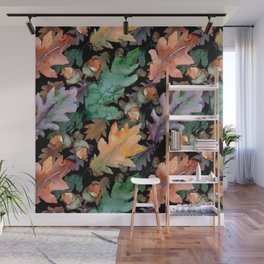 Colorful Woodland Watercolor Oak And Acorn Pattern Wall Mural