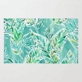 LEAFY ABUNDANCE Green Banana Leaf Print Rug