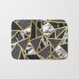 Modern Faux Gold Glitter Marble Geometric Triangle Bath Mat