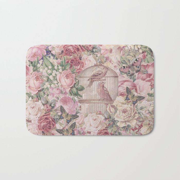 Romantic Flower Pattern And Birdcage Bath Mat