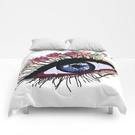 Blue eye & flowers Comforters