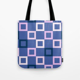 Pink White and Blue Boxes Tote Bag