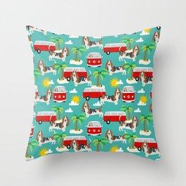 Basset Hound mini van tropical dog breed pattern hippie van custom dog portraits Throw Pillow
