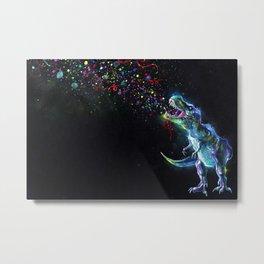 Crystal T-Rex in Space Metal Print