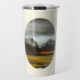 Iceland Landscape Grass Orange Sand & Grey Mountains Round Frame Photo Travel Mug