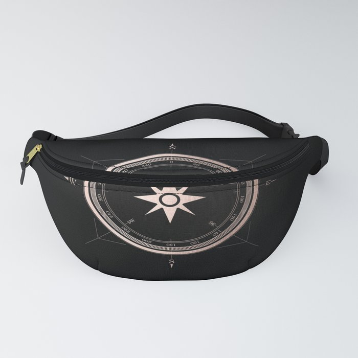 Rosegold Compass on Black II Fanny Pack