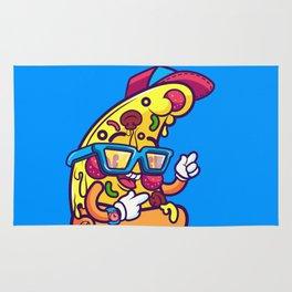 Background of modern pizza slice with skateboard Rug